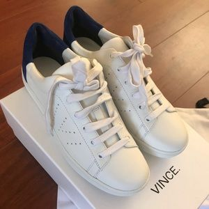 White and blue Vince sneakers